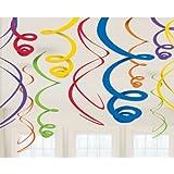 Amscan Mens Plastic Swirl Decorations Rainbow Medium