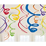 Dark Multi-Colored Hanging Swirl Decorations (12ct)
