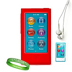 Dreamwireless Red Ipod Case + Ipod Nano 7 Screen Protector + Ipod Nano 7 Compatible Earbud Earphones + Vangoddy Brand Wrist Band