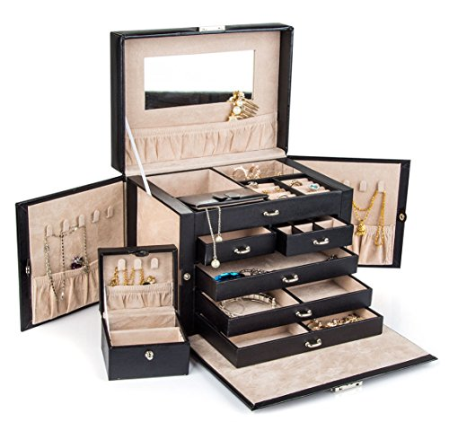 Black Leather Jewelry Box Travel Case and Lock (Box For Jewelry compare prices)