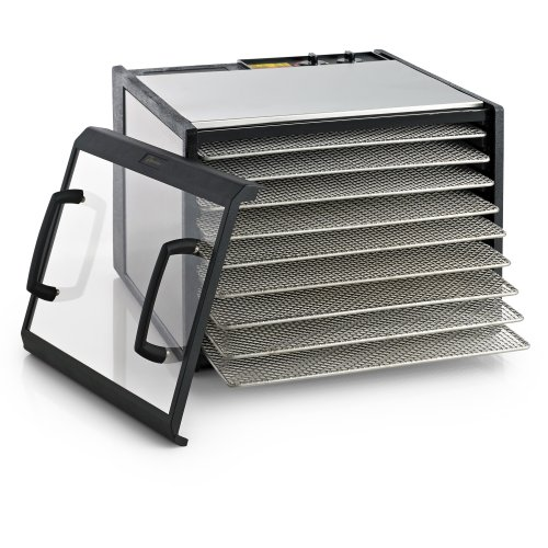 Excalibur 9-Tray Clear Door Stainless Steel Dehydrator W/Stainless Steel Trays, Model D900Cdshd front-221523