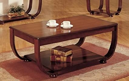 Curly Base Shelf Coffee Table in Dark Cherry Finish