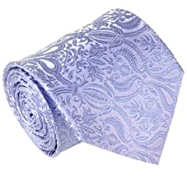 Extra Long Necktie Set by Paul Malone 100%, Blue Paisley