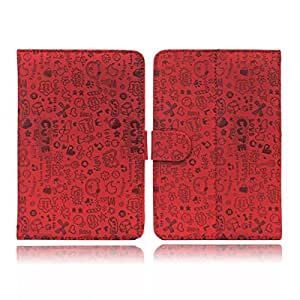 "Red 7inch Cute Pattern PU Leather Case Cover Stand for 7"" Android Tablet PC MID Pad"