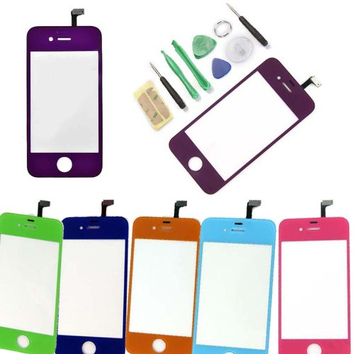 Multicolour Lcd Front Touch Screen Glass Lens Flex Cable Digitizer W/Frame Replacement For Iphone 4S (Purple)