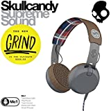【日本正規品】 Skullcandy スカルキャンディー ヘッドホン ヘッドフォン GRIND グラインド Americana/Plaid/Gray TTech スマートフォン スマートホン スマホ対応マイク付き