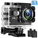 4K WiFi Action Camera Ultra HD 100Feet Waterproof Sport Camera 2 Inch LCD Screen 16MP 170 Degree Wide Angle Rechargeable 1050mAh Batteries with 28 Accessories Kits