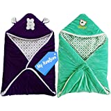 MY NEWBORN BRAND Baby's Combo Of 2 All Season Use 3 In 1 Baby Wrapper Cum Blanket Cum Sleeping Bag Cum Bedding (0-4Months) (Purple-Green)