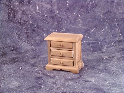 Dollhouse Miniature Unfinished Three Drawer Nightstand