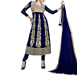 Destiny Enterprise Designer Gorgette Unstitched Blue Color Salwar Suit Dress Material for Women