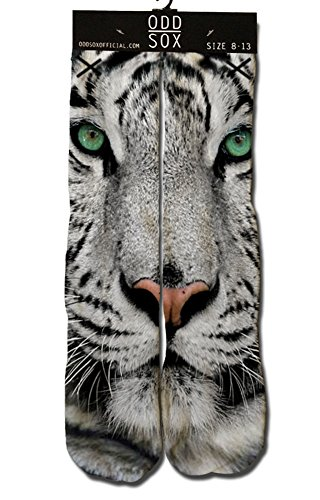 ODD SOX Sublimation White Bengal Tiger Face Fits Sizes 6-13 Crew Socks NEW