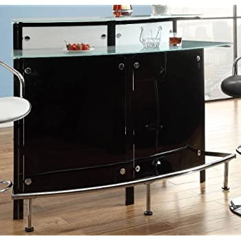 Coaster Home Furnishings Bar Units and Bar Tables Arched Black Bar Table with Frosted Glass Counter Tops