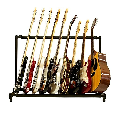 FireKingdom 9 Triple Folding Multiple Guitar Rack Storage Organizer Stand Holder for Electric Acoustic Bass, Black