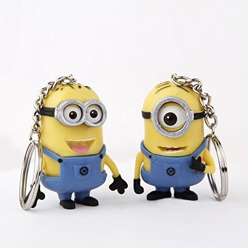 Cute Cartoon Despicable Me 3D Eye Small Minions Anime Doll Rubber Action Figure classic Kid toys Key Chains Free Shipping - 1