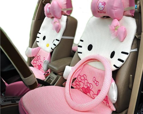 12pcs Fashion Kitty 3D Auto Car Rearview Front Rear Seat Saddle Cover Cushion Kit EMS Shipping ZJ000158