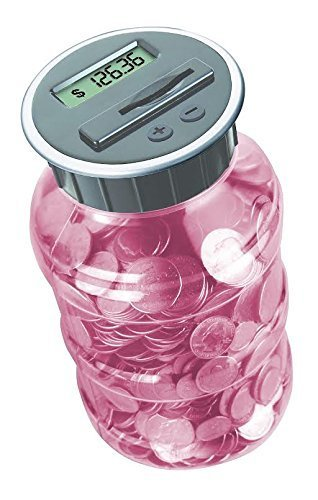 Digital Coin Bank Savings Jar by DE - Automatic Coin Counter Totals all U.S. Coins including Dollars and Half Dollars - Original Style, Transparent Pink Jar