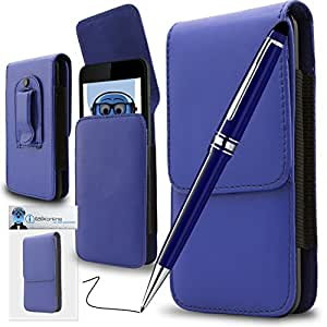 Blue PREMIUM PU Leather Vertical Executive Side Pouch Case Cover Holster with Belt Loop Clip and PRO Captive Touch Tip Stylus Pen with Rubber Tip with Roller Ball Pen For Sony Xperia X