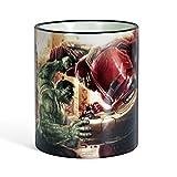 Marvel Avengers Age of Ultron Kaffeebecher Tasse Hulk vs. Hulkbuster Motiv Fangeschenk, farbiger Rand und Henkel lizenziert 300ml