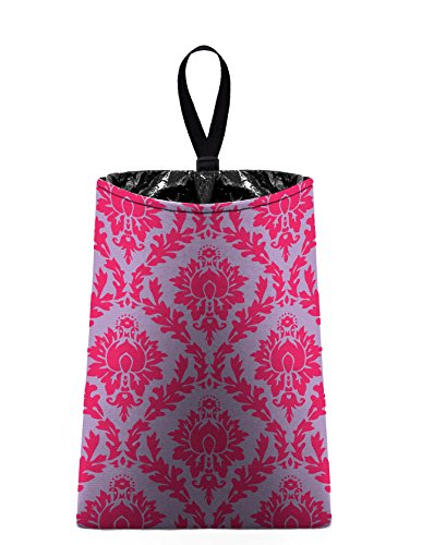 Auto Trash (Damask - Hot Pink and Pale Lavender) by The Mod Mobile - litter bag/garbage can for your car (Damask Garbage Can compare prices)