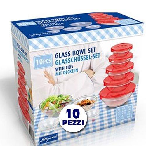 Bakaji Set di 5 ciotole contenitori in vetro per alimenti colore: blu/rosso Ø: 9 / 10.5 / 12.5 / 14 / 17 cm