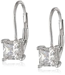 Amazon.com: Platinum-Plated Sterling Silver Princess-Cut ...