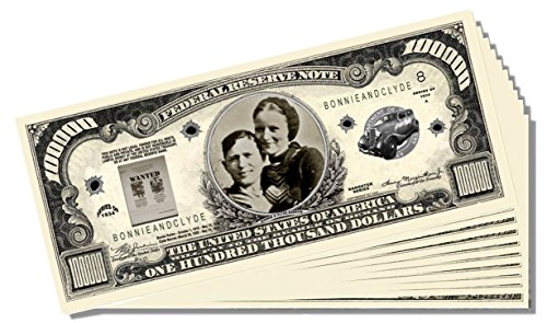 Bonnie and Clyde Million Dollar Bill - 10 Count with Bonus Clear Protector & Christopher Columbus Bill