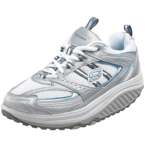 Skechers Women's Shape Ups Sneaker,Silver/Blue,9 M US