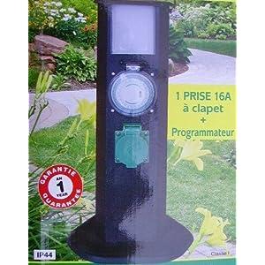 Borne lampe de jardin electrique avec prise programmateur - Borne electrique de jardin avec prise ...