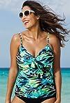 Shore Club Margarita Plus Size Underwire Tie Front Tankini