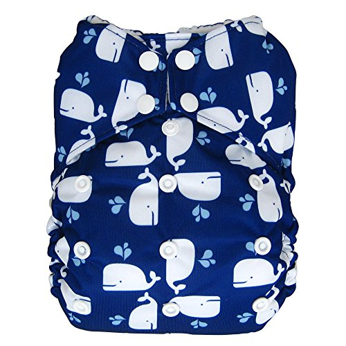 Reusable All-in-one AIO Baby Cloth Diaper One Size Fit 10-33 Lbs (Whale)