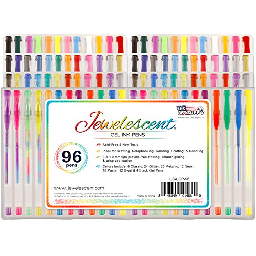 Us Art Supply Jewelescent 96 Gel Pen Set Professional
