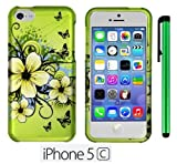 Apple Iphone 5C (For the Colorful ; 2013 Fall released) Premium Pretty Design Protector Hard Cover Case + 1 of New Metal Stylus Touch Screen Pen (Apple Green Butterfly Flower)