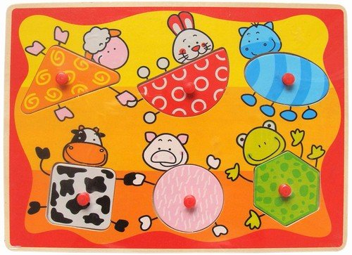 Cheap Puzzled Farm Animals Shapes – Wooden Peg Puzzle (B005IDO3CA)