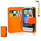 CellDeal Flip Wallet Leather Case Cover For HTC Desire C Free Screen Protector + Orange