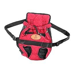 Generic Portable Double-shoulder Pet Travel Carrier Dog Backpack (L),Fuchsia