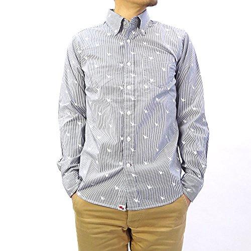 (マークゴンザレス) MarkGonzalesストライプ総柄ブロードBDシャツ (L, ネイビー)