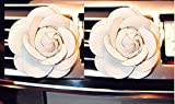 FINEX Premium PU Leather Car Fragrance Air Freshener Holder Container camellia decoration *Set of 2* (White)