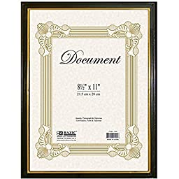 3 Pk, BAZIC Document Frame with Gold Border, 8.5 x 11 Inch