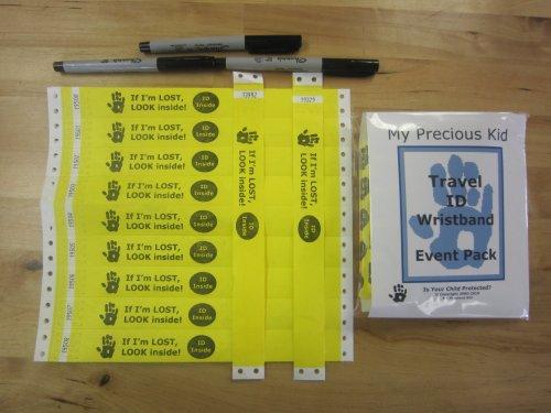 Travel Wristbands - Event pack - 100 Bracelets, 3 pens