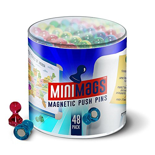 48 x Ultra-Strong Push-Pin Magnets For Home & Office [#1 Magnet For Fridges, Calendars, Whiteboards & Maps!] *50% Stronger Than Other Brands*, Handy Storage Container Included Free!
