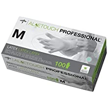 "Medline Industries MDS198155 Aloetouch Powder-Free Latex Exam Gloves, 9"" Length, Medium, Green (Case of 1000)"