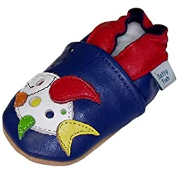 Dotty Fish Baby Boys Soft Leather Shoe with Suede Soles Blue Multi Colored Fish 0-6 Months to 2-3 years