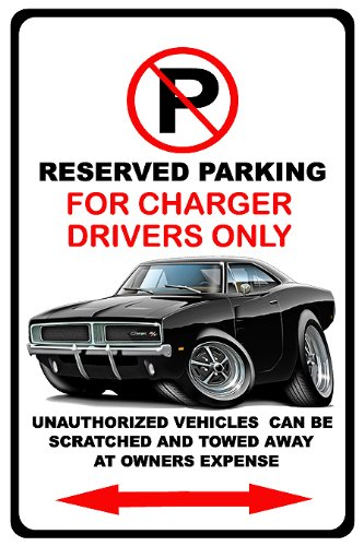1968-70 Dodge Charger Muscle Car-Toon No Parking Sign