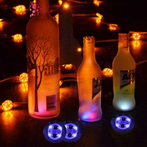 Glowseen(TM) LED Bottle Light Sticker Coaster for Party Favor (Pack of 6 sticker) (Blue)