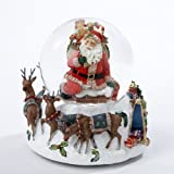 Kurt Adler Santa with Big Bag Musical Water Globe, 100mm