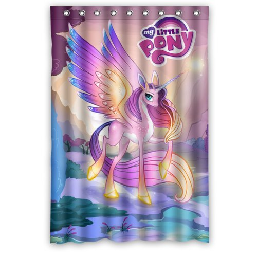 Custom Unique Design Cartoon My Little Pony Rainbow Waterproof Fabric Shower Curtain front-639046