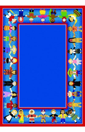 "Joy Carpets Kid Essentials Early Childhood Oval Children of Many Cultures Rug, Multicolored, 5'4"" x 7'8"""