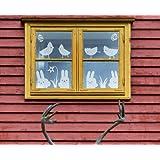 """Fenstertattoo - Motiv """"Hase und Huhn"""" aus Milchglasfolie in Farbton TRANSPARENT mit Silberglitzervon """"Lovala"""""""