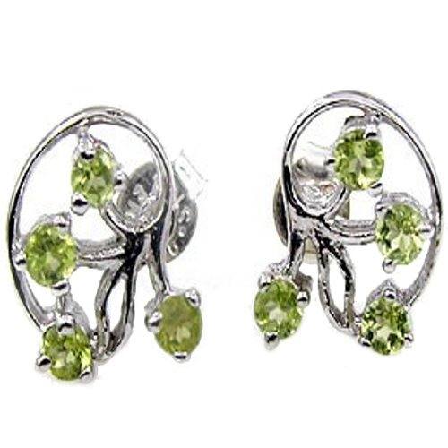 .925 Sterling Silver Peridot Gemstone Leaf Vine Earrings