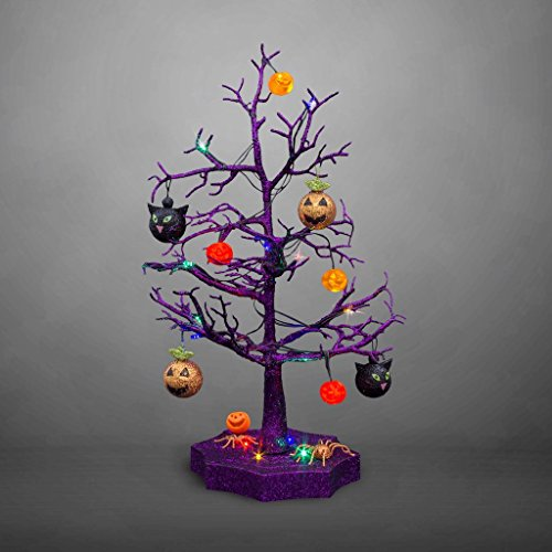 [Halloween Decoration LED Light Sparkle Tree With Cats, Pumpkins & Spiders - 19